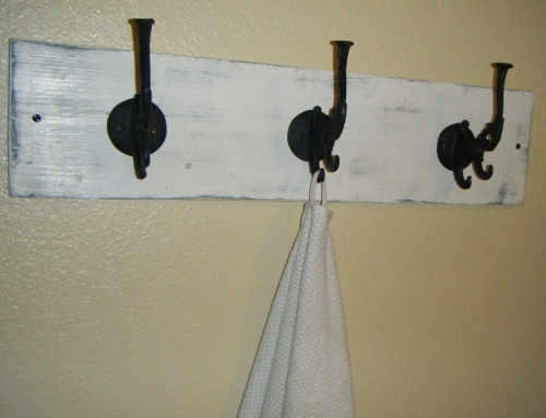 DIY distressed towel rack