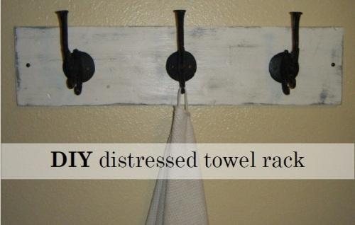 DIY distressed towel rack