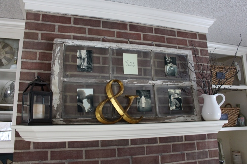 old window pane turned picture holder