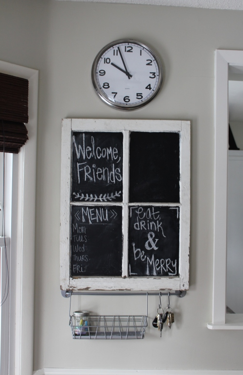 window pane turned chalkboard
