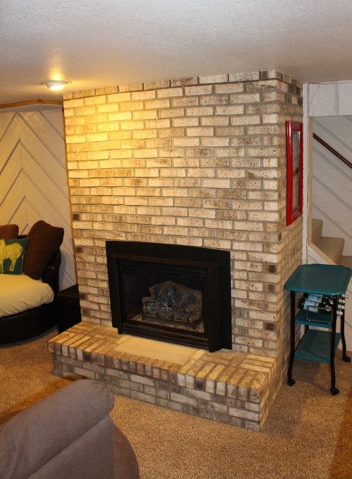 brown brick fireplace