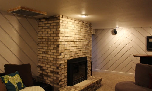 brown brick fireplace