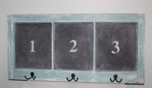 window chalkboard coat rack