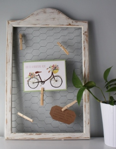 distressed frame w/ chicken wire