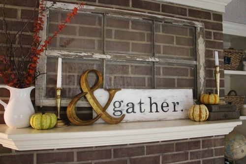 fall mantel, DIY gather sign