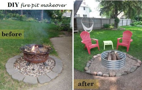 before and after fire pit