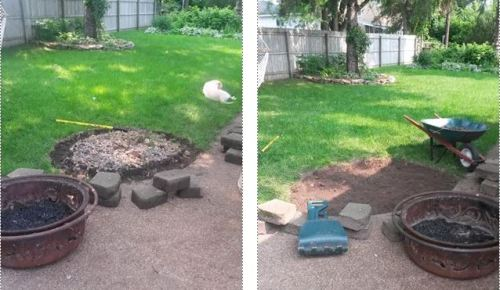 fire pit makeover progress